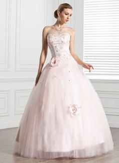 Duchesse-Linie Herzausschnitt Bodenlang Tüll Quinceañera Kleid (Kleid für die Geburtstagsfeier) mit Perlen verziert Blumen (021020807)