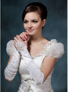 Elastic Satin Elbow Length Bridal Gloves (014020515)
