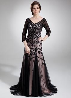 Trompete/Meerjungfrau-Linie V-Ausschnitt Hof-schleppe Charmeuse Tüll Kleid für die Brautmutter mit Spitze Perlen verziert (008006548)