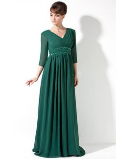 Império Decote V Sweep/Brush trem Tecido de seda Vestido de Férias com Pregueado Beading lantejoulas (020036590)