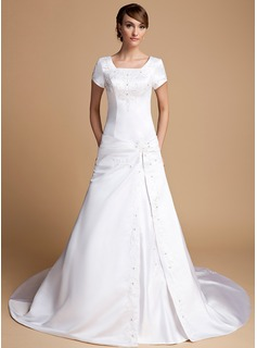 A-Line/Princess Square Neckline Cathedral Train Satin Wedding Dress With Ruffle Beading (002014719)