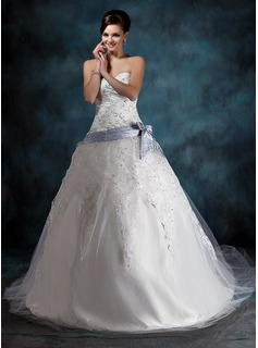 Ball-Gown Sweetheart Chapel Train Satin Tulle Wedding Dress With Lace Sash Beading Bow(s) (002000341)