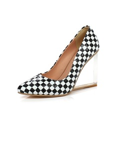 Patent Leather Wedge Heel Pumps Closed Toe shoes (116057287)
