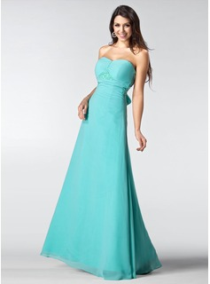 A-Line/Princess Sweetheart Floor-Length Chiffon Evening Dress With Ruffle Beading Bow(s) (017005217)