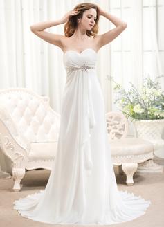 A-Linie/Princess-Linie Herzausschnitt Sweep/Pinsel zug Chiffon Brautkleid mit Perlen verziert Gestufte Rüschen (002054368)
