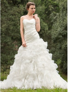 A-Line/Princess Sweetheart Chapel Train Organza Wedding Dress With Ruffle Beading Sequins Cascading Ruffles (002024695)