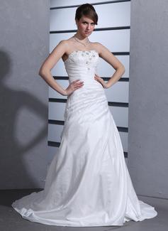 A-Line/Princess Strapless Court Train Taffeta Wedding Dress With Ruffle Beading Appliques Lace (002000484)