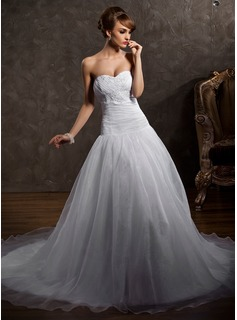 Ball-Gown Sweetheart Chapel Train Organza Satin Wedding Dress With Ruffle Lace Beading (002012012)