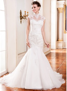 Trumpet/Mermaid High Neck Cathedral Train Organza Wedding Dress With Lace Beading Sequins (002055081)