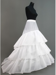 Women Nylon/Tulle Netting Chapel Train 3 Tiers Petticoats (037005375)