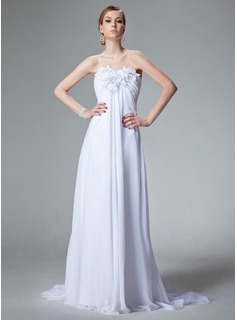 Empire Sweetheart Court Train Chiffon Wedding Dress With Ruffle Beading Flower(s) (002000679)