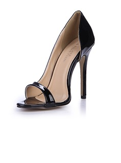 Women's Patent Leather Stiletto Heel Sandals Pumps Peep Toe shoes (087051694)