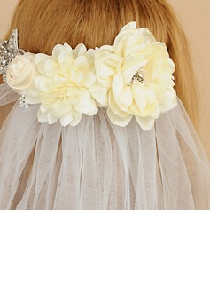 One-tier Cut Edge Elbow Bridal Veils With Rhinestones/Satin Flower (006190605)