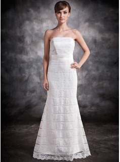 Trumpet/Mermaid Strapless Floor-Length Lace Evening Dress (017016878)
