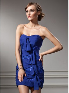Sheath/Column Sweetheart Short/Mini Chiffon Sequined Cocktail Dress With Ruffle Bow(s) (016008666)