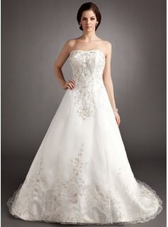 Ball-Gown Sweetheart Chapel Train Organza Satin Wedding Dress With Embroidery Beading (002016404)