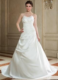 Corte A/Princesa Escote ondulado Cola capilla Satén Vestido de novia con Volantes Bordado Lentejuelas (002000605)