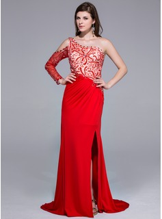 Sheath One-Shoulder Sweep Train Charmeuse Jersey Prom Dress With Beading (018025647)