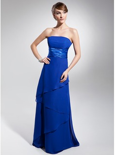 Empire Strapless Floor-Length Chiffon Bridesmaid Dress With Ruffle (007014671)
