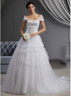 Ball-Gown Off-the-Shoulder Cathedral Train Satin Tulle Wedding Dress With Embroidered Ruffle Beading (002022657)