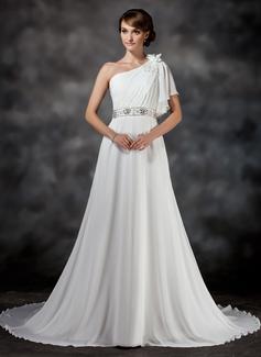 A-Line/Princess One-Shoulder Chapel Train Chiffon Wedding Dress With Ruffle Beading Flower(s) (002017386)
