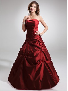Ball-Gown Strapless Floor-Length Taffeta Quinceanera Dress With Ruffle Beading (021002289)