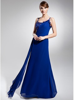 A-Line/Princess Scoop Neck Floor-Length Chiffon Holiday Dress With Ruffle Beading (018014694)