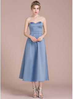 A-Line/Princess Sweetheart Tea-Length Satin Cocktail Dress (016112644)