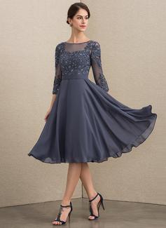 A-Linie U-Ausschnitt Knielang Chiffon Spitze Kleid für die Brautmutter mit Perlstickerei Pailletten (008152149)