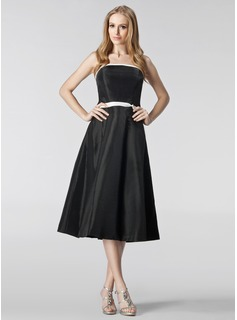A-Line/Princess Strapless Tea-Length Taffeta Bridesmaid Dress With Sash (007001068)
