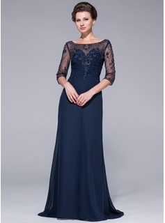 A-Line/Princess Scoop Neck Sweep Train Chiffon Tulle Mother of the Bride Dress With Beading (008025695)