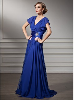 A-Line/Princess V-neck Sweep Train Chiffon Charmeuse Lace Mother of the Bride Dress With Ruffle Beading (008005755)