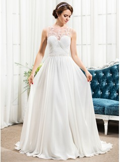 A-Line/Princess Scoop Neck Sweep Train Chiffon Tulle Wedding Dress With Ruffle Beading Sequins (002057490)