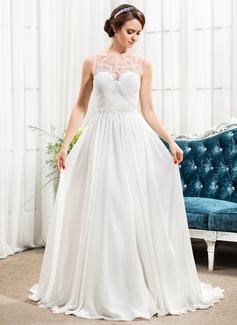 Forme Princesse Col rond alayage/Pinceau train Mousseline Tulle Robe de mariée avec Plissé Emperler Sequins (002057490)