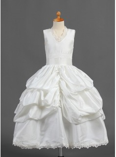 Ball Gown Tea-length Flower Girl Dress - Taffeta Sleeveless V-neck With Ruffles/Lace/Pick Up Skirt (010015807)