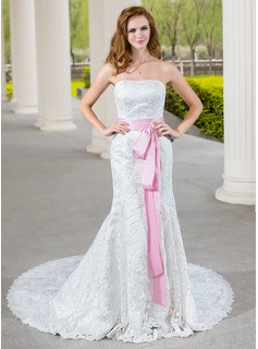 Trumpet/Mermaid Sweetheart Chapel Train Lace Wedding Dress With Sash Bow(s) (002000689)