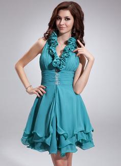 Forme Princesse Dos nu Court/Mini Mousseline Robe de soirée étudiante avec Plissé Emperler Sequins (022010099)
