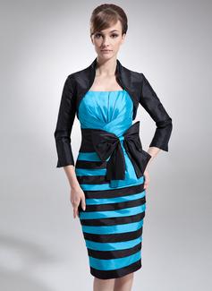 Etui-Linie Knielang Taft Kleid für die Brautmutter mit Rüschen Schleife(n) (008006280)
