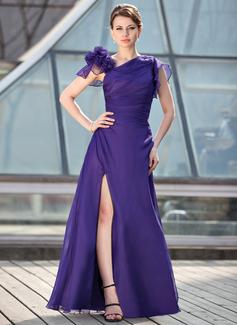 A-Linie/Princess-Linie Bodenlang Chiffon Kleid für die Brautmutter mit Rüschen Perlen verziert Blumen Schlitz Vorn (008018695)