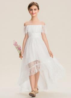 A-Line Off-the-Shoulder Asymmetrical Lace Junior Bridesmaid Dress (009173286)
