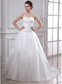 Ball-Gown Sweetheart Chapel Train Satin Organza Wedding Dress With Ruffle Beading (002001638)