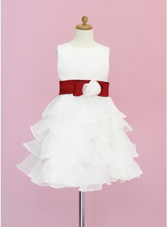 A-Line/Princess Scoop Neck Knee-Length Organza Satin Flower Girl Dress With Sash Flower(s) Bow(s) Cascading Ruffles (010005330)