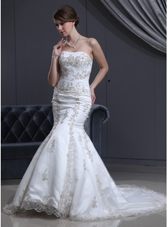 Trumpet/Mermaid Sweetheart Court Train Satin Tulle Wedding Dress With Beading Appliques Lace (002000301)