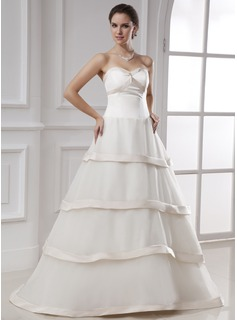 Ball-Gown Sweetheart Floor-Length Organza Satin Wedding Dress (002015480)