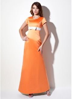 Vestido tubo Escote en V Hasta el suelo Satén Dama de honor con Fajas Lazo(s) (007001493)