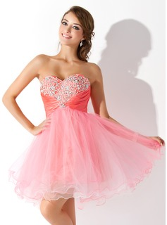 Cheap Homecoming Dresses Empire Sweetheart Knee-Length Taffeta Tulle Homecoming Dress With Ruffle Beading Sequins (022008959)