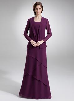 A-Linie/Princess-Linie U-Ausschnitt Bodenlang Chiffon Kleid für die Brautmutter mit Perlen verziert Gestufte Rüschen (008006140)