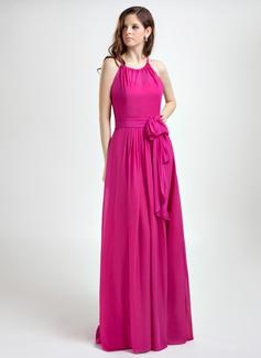 A-Linie/Princess-Linie Träger Bodenlang Chiffon Festliche Kleid mit Rüschen (020015819)