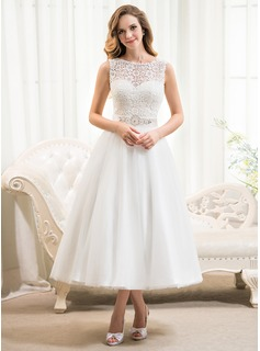 A-Line/Princess Scoop Neck Tea-Length Tulle Lace Wedding Dress With Beading Sequins (002054369)