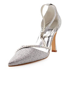 Women's Sparkling Glitter Stiletto Heel Closed Toe Pumps With Rhinestone (047010755)
